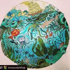 Muito lindo o oceano perdido @boracolorirtop with @repostapp Meu primeiro desenho pintado do Oceano perdido!!!! Estou amando esse livro!!!! ❤️ #johannabasford #prazeremcolorir #livrocoloriramo #oceanoperdidotop @shady__as #coloringbook #zifflin#oceanoperdido #colorindolivrostop #mundodaspinturas