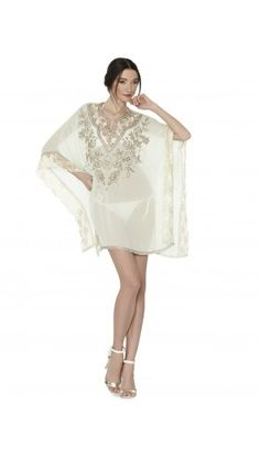KASSANDRA EMBROIDERED CAFTAN | Alice + Olivia | Apparel & Accessories > Clothing > Shirts & Tops > Shirts & Blouses