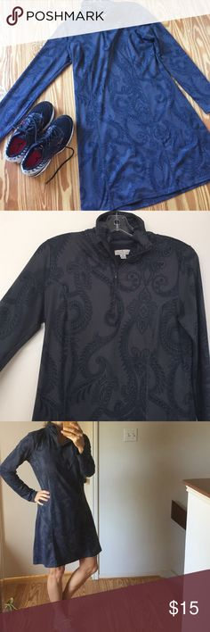 Comfortable and Sporty Paisley Dress Soft and comfortable outerwear. This dark grey dress with navy colored paisley print will keep you comfortable and dry. Poly/spandex, machine washable, worn a few times. In Excellent condition. Tehama Dresses Long Sleeve