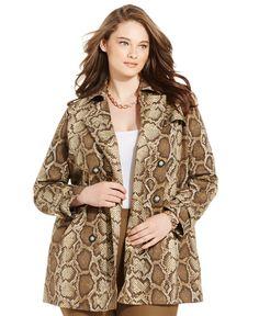 Michael Michael Kors Plus Size Snakeskin-Print Trench Coat