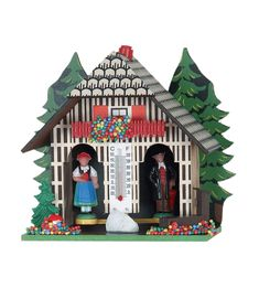 Black Forest Weatherhouse Height: wooden housing made in germany Hang up in an airy place.If weather is dry turn the chimney till the lady just comes out,if it is wet bring out the man.Only adjust once. Black Forest, Weather, Christmas Ornaments, Holiday Decor, Germany, Houses, Lady, Home Decor, Homes