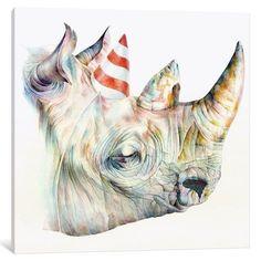 iCanvas Rhino's Birthday Gallery Wrapped Canvas Art Print by Brandon Keehner