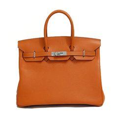 the bag-  HERMES Birkin Orange Potiron 35CM Gold Or Palladium Hardware