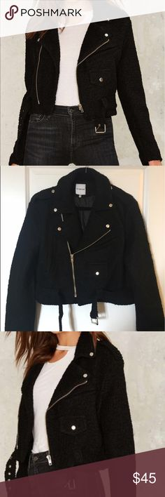 Nasty Gal Cropped Moto Wool Jacket L Cropped black chunky moto jacket from Nasty Gal. Runs a little big - oversized. Never been worn. Brand is Six Crisp Days (was sold by Nasty Gal). Nasty Gal Jackets & Coats Blazers