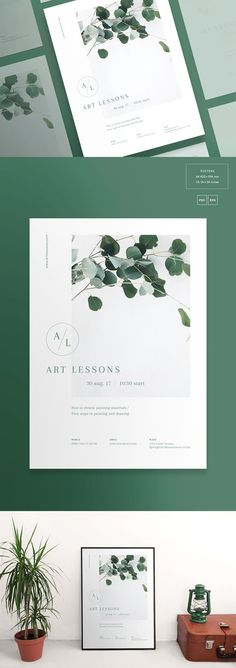 Clean and modern poster templates with catchy design to showcase your work in the best way possible. Create a neat presentation in a second. Flugblatt Design, Layout Design, Print Design, Logo Design, Floral Design, Design Brochure, Identity Design, Branding Template, Flyer Template