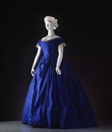 Dress, cerulean blue silk, trimmed with white lace, Australia, [c. 1848]