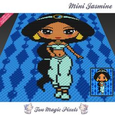 Two Magic Pixels - Beautiful graphs for crochet, cross stitch and other crafts C2c Crochet Blanket, Crochet Afgans, Crochet Quilt, Pixel Crochet, Crochet Chart, Granny Square Crochet Pattern, Afghan Crochet Patterns, Crochet Squares, Crochet Disney