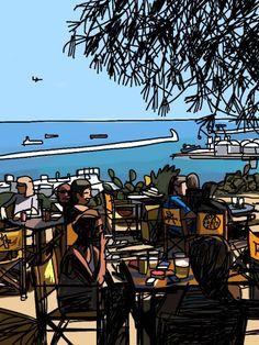 Terraza del Bar de los Pinos en la montaña de Montjuic, Barcelona, by Mariscal