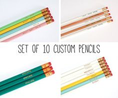 Custom Pencils  Set of 10 Pencils  Choose Your Color by RowHouse14, $16.00