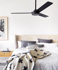 Beacon Lighting Minka Aire Roto 3 blade ceiling fan only in matt black, not light adaptable. Bedroom Fan, Bedroom Black, Home Bedroom, Bedroom Ideas, Bedroom Ceiling Fans, Black Ceiling Fan, 3 Blade Ceiling Fan, Ceiling Fan No Light, Farmhouse Bedroom Furniture