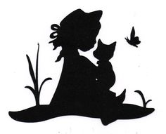NEW design lil girl with kitten butterfly Silhouette die cut for scrap booking or card making Machine Silhouette Portrait, Girl Silhouette, Silhouette Design, Kirigami, Stencils, Simple Acrylic Paintings, Scroll Design, French Art, Digital Stamps