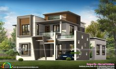 3 bedroom 1450 square feet modern house plan architecture by Hirise builders from Calicut, Kerala. House Gate Design, House Front Design, Small House Design, Modern House Design, Wall Design, Contemporary House Plans, Modern House Plans, Small House Plans, Modern Houses