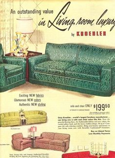 Vintage Modern Style Living Room How to Mix Old with New Furniture Ads, Large Furniture, Vintage Furniture, Living Room Furniture, Living Rooms, Modern Furniture, Sala Vintage, Vintage Ads, Vintage Decor
