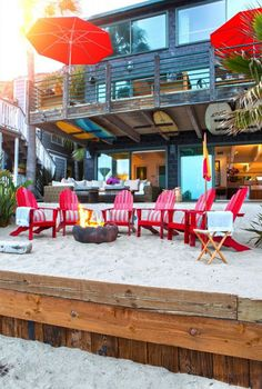 Love the hanging surf boards.  Fun beach house living!