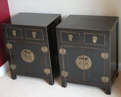 A Matching Pair of Antique Chinese Original Furniture 2 x Bedside Table/Cabinet