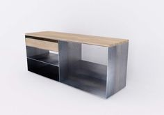 Design Metallmoebel Kaminholz Sideboard Brennholz Aufbewahrung Aus Stahl Holz Eiche Stahlzart