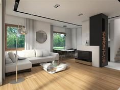 Projekt domu Reksio N+ 103,37 m2 - koszt budowy 180 tys. zł - EXTRADOM Modern House Floor Plans, House Outside Design, Design Case, Home Fashion, Modern Farmhouse, Curtains, Flooring, Architecture, House Styles