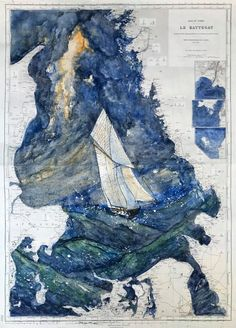 Kattegat - martinarnaud.fr Nautical Chart, Les Oeuvres, Artwork, Outdoor, Contemporary Art, Sketch, Artist, Cards, Paint