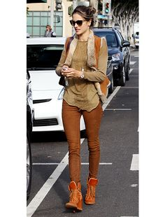 Victoria's Secret model, Alessandra Ambrosio out and about in Los Angeles wearing Joe's Suede Skinny in Saddle