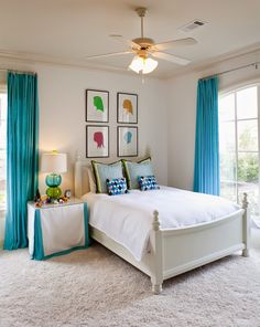 Turquoise Curtains with white walls - example of a darker curtain in a solid fabric