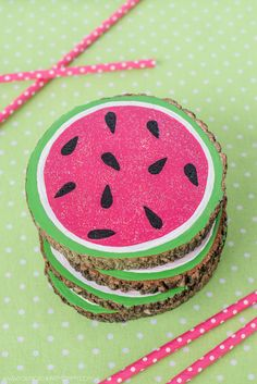 How To Make Painted Wooden Watermelon Coasters From Tree Bark Slices
