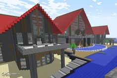 Minecraft- red roofed house