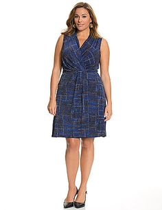Every entrance is a head-turner in this style-savvy sleeveless dress with a dramatic print. The faux wrap silhouette is an easy-wearing, flattering choice for any figure, with a sexy surplice neckline, wide straps and pleated waist detail. Pull-on style. lanebryant.com