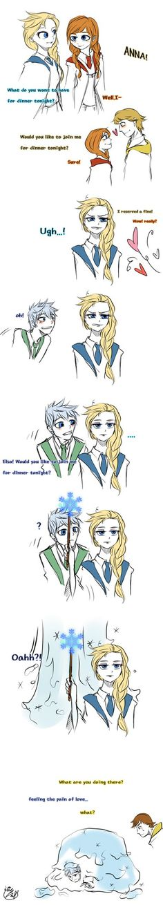 xD Her hair is really interesting! Elsa is in the Slytherin? or Ravenclaw? Elsa ,Merida and Rapunzel (c) Disney Jack (c) Dreamworks Jack Y Elsa, Jack Frost And Elsa, Rise Of The Guardians, Film Disney, Disney Art, Disney Stuff, Frozen And Tangled, Disney Frozen, Disney Dream