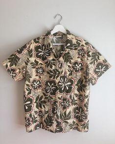 e54aa0da3 Vintage Hawaiian Hibiscus Neutral Olive Green Button Up Shirt / Vintage  Hawaiian Men's Shirt Hawaiia