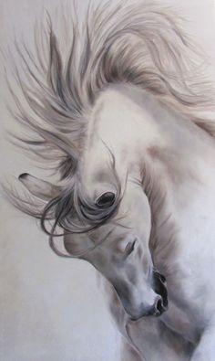 Oil fabric 100 cm x 60 cm Horse Drawings, Animal Drawings, Art Drawings, Painted Horses, Most Beautiful Horses, Pretty Horses, Horse Pictures, Art Pictures, Horse Artwork