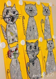 Make cat from newsprint: Art Classroom, Newspaper Collage, Newspaper Cr … - Animal Crafts Newspaper Collage, Newspaper Crafts, Kindergarten Art Projects, Preschool Art, Fish Art, Animal Crafts, Recycled Art, Art Classroom, Art Club