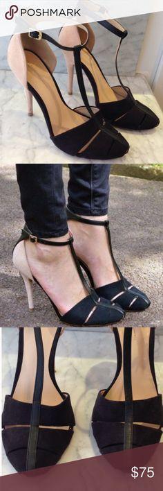 "  Host Pick   Zara Black and Nude T-Strap Heel SZ9 Worn a few times, great condition 👌🏽                   4.5"" Heel Height Zara Shoes Heels"