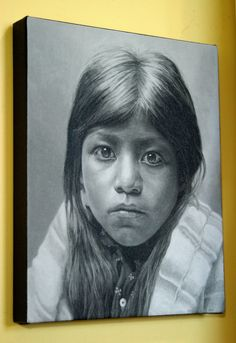 Canvas Giclee Print of acrylic painting, PUEBLO GIRL by StuARTdrums on Etsy