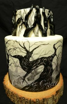 Forest Cake Free hand painting and fondant branches. No print, stencils, transfers, air brushing. Gothic Cake, How To Make Decorations, Hand Painted Cakes, Forest Cake, Cake Central, Cupcake Cookies, Cupcakes, Fancy Cakes, Diy Food