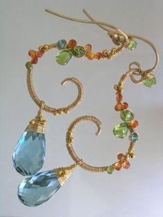 Summer Party...Orange Sapphire Peridot Green Quartz GF Earrings  by bellajewels   228.00