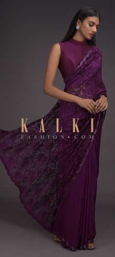 Buy Online from the link below. We ship worldwide (Free Shipping over US$100)  Click Anywhere to Tag Byzantine Purple Half And Half Saree In Crepe And Floral Lace Embellished With Kundan Online - Kalki Fashion Byzantine purple half and half saree in crepe and floral lace embellished with kundan.The saree is adorned with kundan butti and has cut dana embroidered scallop border.