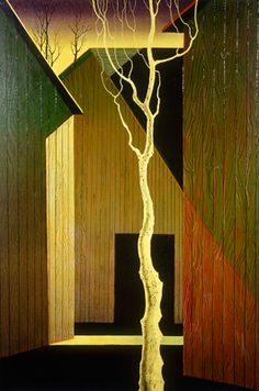 Barns with White Tree by Eyvind Earle®