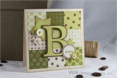Wplus9 Design Basics: Backgrounds I (contains 3 background building stamps). Cricut to cut out the letter B and a couple of stars.