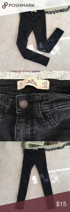 Hollister Black Faded Distressed Jeans Hollister Faded Black Distressed Jeans Super Skinny  Size 3S W26 L29 Hollister Jeans Skinny