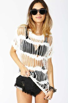 I've been meaning to DIY one of these Shred Head Tee's as a swimsuit cover-up.  I better get on the ball bc summers coming fast.  Pinned by BeautyUnrestricted.com