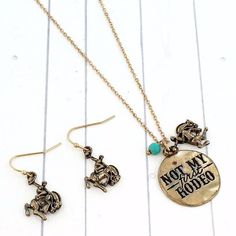 Jewelry - Goldtone 'Not My First Rodeo' Necklace Set Jewelry Stamping, Stamped Jewelry, Turquoise Beads, Rodeo, Necklace Set, Pendant, Bracelets, Earrings, Gold