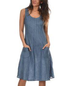 Look at this Blue Sheer Maya Linen Dress on #zulily today!