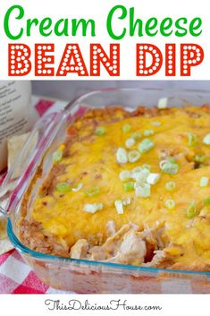 The BEST Cream Cheese Bean Dip Recipe out there! Made with refried beans, Rotel, and lots of cheese, this dip is a great make-ahead appetizers perfect as party food. Make Ahead Appetizers, Appetizers For Party, Appetizer Recipes, Brunch Recipes, Salad Recipes, Dinner Recipes, Party Dips, Appetizer Dips, Healthy Appetizers