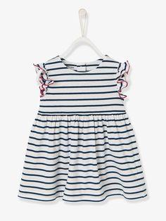 Vestido de playa con estampado para bebé BLANCO CLARO A RAYAS+ROSA FUERTE ESTAMPADO