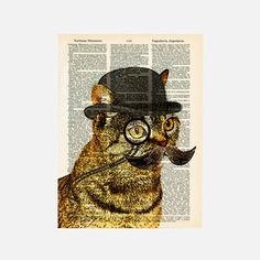 World-Famous Dandy Cat Print by Matt Dinniman Szanyi - this is your type of cat if I ever saw one. Upcycled Vintage, Vintage Cat, Vintage Paper, Writing Art, Cute Illustration, Wall Art Designs, Cat Art, Pet Portraits, Pet Birds