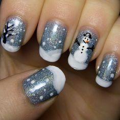 Christmas Gel Nails, Holiday Nail Art, Winter Nail Art, Winter Nails, Fingernail Designs, Christmas Nail Art Designs, Gel Nail Designs, Nails Design, Snowman Nail Art