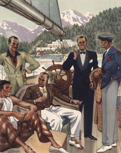 lifeofexcess: A wide range of menswear here. Nautical Fashion, Golf Fashion, Fashion Art, Curvy Fashion, Fashion Trends, Americana Vintage, Vintage Men, Mode Masculine, 1940s Mens Fashion