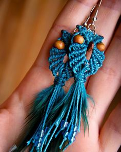 Custom order - Long macrame owl earrings with feathers boho bohemian hippie chic gypsy woodland elf knotted micromacrame spring summer
