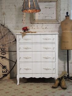 Painted Cottage Chic Shabby White Romantic by paintedcottages, $325.00