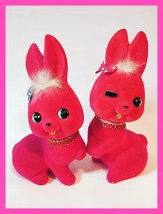 Flocked Piggy Dolls & set of cute rabbit Showa Retro - milbeetoy